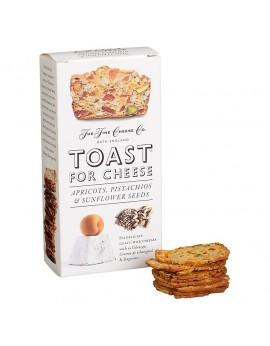 Tostas de pan con albaricoque, pistacho y semillas de girasol.